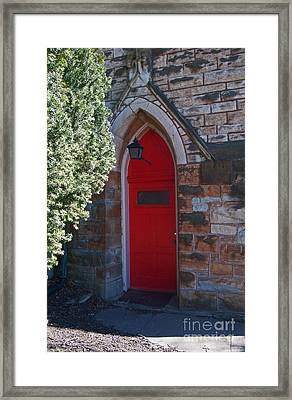 Red Church Door Framed Print