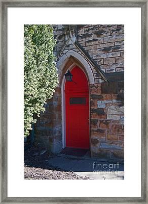 Red Church Door Framed Print