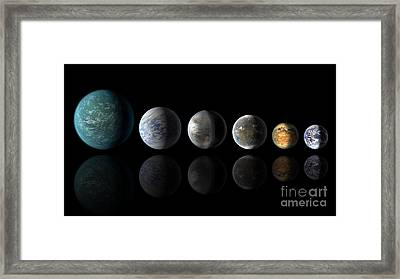Kepler Exoplanets Similar To Earth Framed Print by Science Source