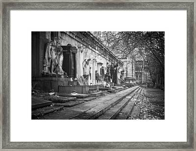 Kerepesi Cemetery Budapest Bw Framed Print by Joan Carroll