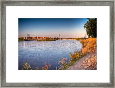 Kern River Train Full Moon Morning Framed Print
