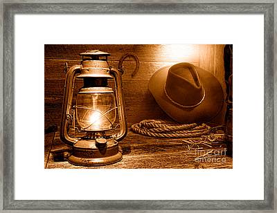 Kerosene Lantern - Sepia Framed Print