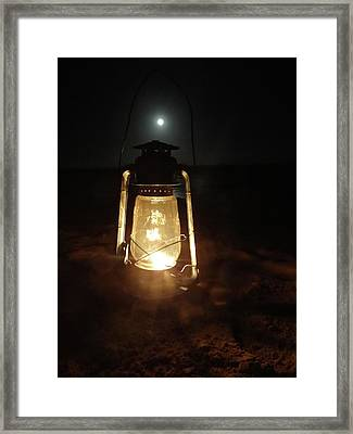 Kerosine Lantern In The Moonlight Framed Print