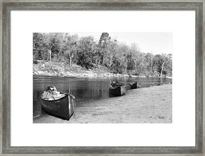 Kerr Lake Canoes Framed Print by Steven Crown