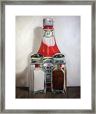 Ketchup And Salt And Pepper Shaker Framed Print by Vic Vicini