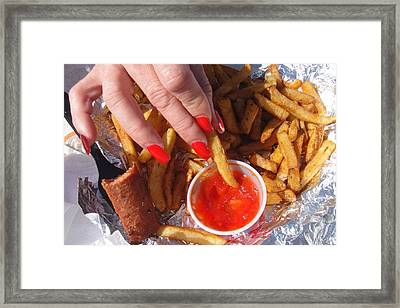 Ketchup Colored Nails With Fries Framed Print by WaLdEmAr BoRrErO