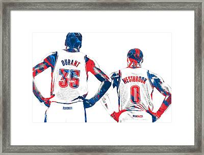 Kevin Durant Russell Westbrook Thunder Pixel Art Framed Print by Joe Hamilton