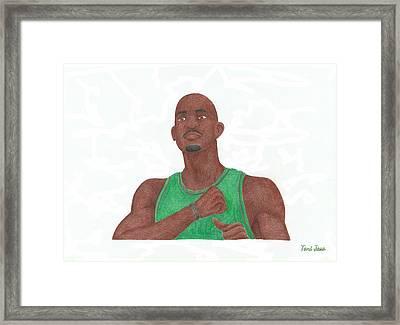 Kevin Garnett Framed Print by Toni Jaso