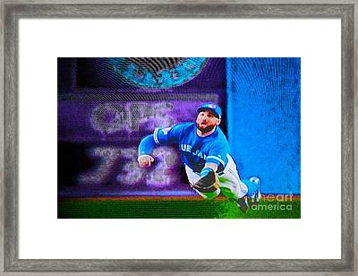 Kevin Pillar In Action II Framed Print by Nina Silver