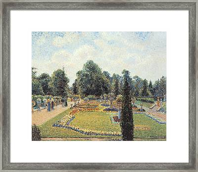 Kew Gardens The Path To The Great Conservatory Framed Print by Camille Pissarro