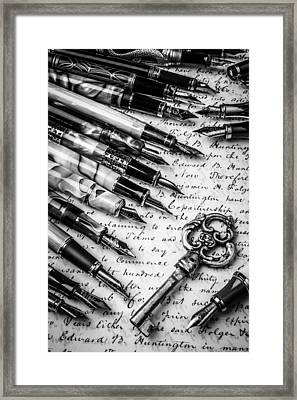 Key And Fountain Pens Framed Print by Garry Gay