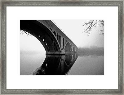 Key Bridge In Fog Framed Print