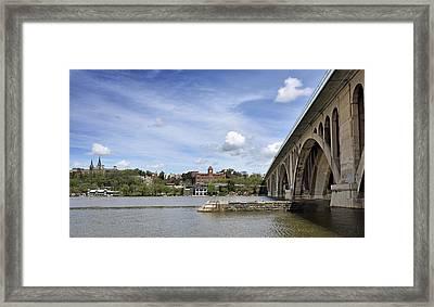 Key Bridge Into Georgetown Framed Print by Brendan Reals