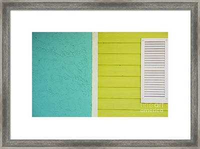 Key Lime Blue Abstract Framed Print