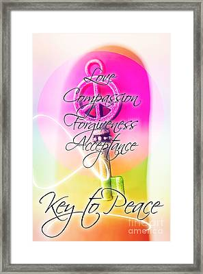 Key To Peace. Life Motivation Quote Framed Print