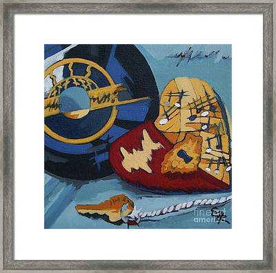 Framed Print featuring the painting Key To The Heart by Erin Fickert-Rowland
