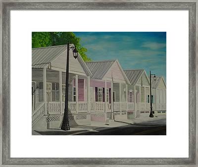 Key West Cottages Framed Print by John Schuller