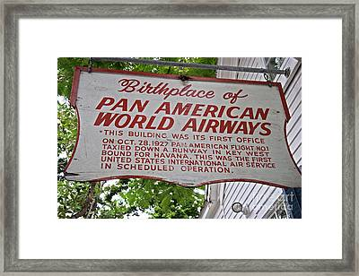Key West Florida - Pan American Airways Birthplace Framed Print by John Stephens