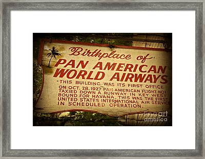 Key West Florida - Pan American Airways Birthplace Sign Framed Print by John Stephens