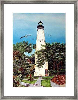 Key West Lighthouse Framed Print by Riley Geddings