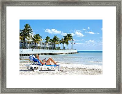 Key West Sunbather Framed Print
