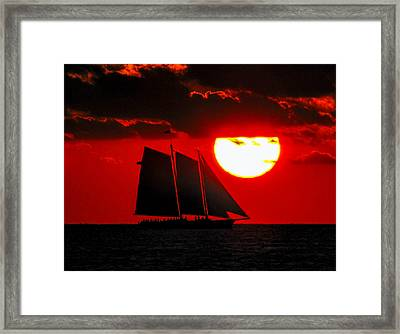 Key West Sunset Sail Silhouette Framed Print