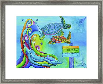 Key West Turtles Play Framed Print by Shelly Tschupp