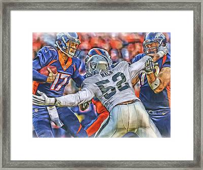 Khalil Mack Raiders Oil Art Framed Print