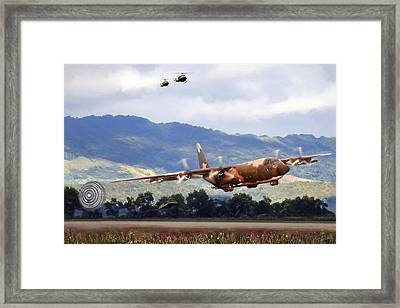 Khe Sanh Lapes C-130a Framed Print by Peter Chilelli