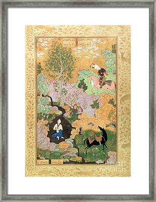 Khusrau Sees Shirin Bathing In A Stream Framed Print by Persian School