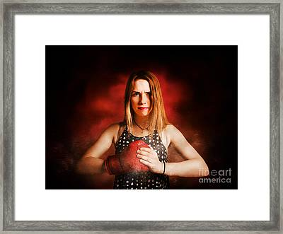 Kickboxing Gym Girl In Boxing Fitness Competition  Framed Print