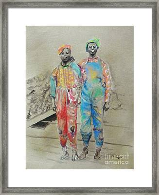 Kickin' It -- Black Children From 1930s Framed Print