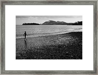 Kid On Beach-st Lucia Framed Print