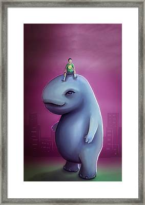 Kid Rides Giant Pet Framed Print by Rui Barros