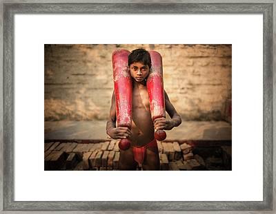 Kid With Bat Framed Print