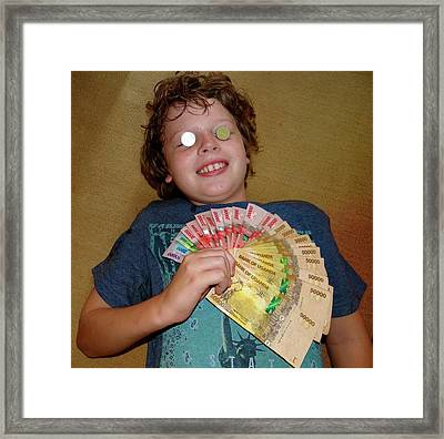 Kid With Money Framed Print