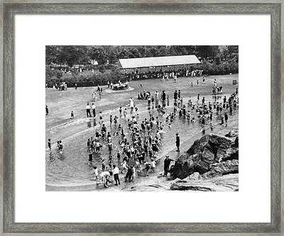 Kiddie Pool For Cool Framed Print by Underwood Archives