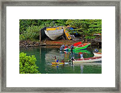Kids At Play-st Lucia Framed Print