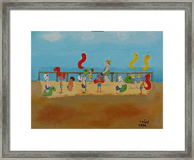 Kids At The Beach Framed Print by Harris Gulko
