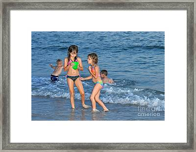 Kids At The Beach Framed Print by Rose  Hill