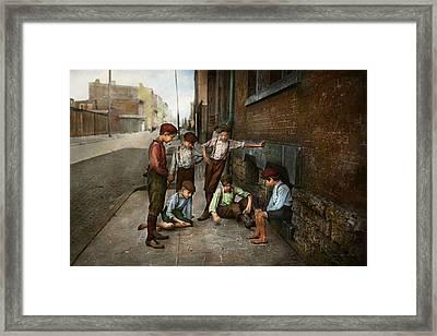 Kids - Cincinnati Oh - A Shady Game 1908 Framed Print by Mike Savad