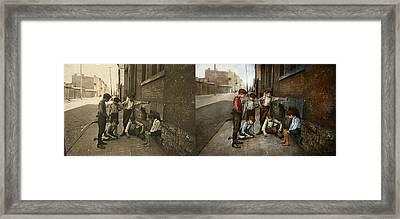 Kids - Cincinnati Oh - A Shady Game 1908 - Side By Side Framed Print by Mike Savad