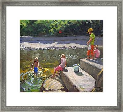 Kids Fishing   Looe   Cornwall Framed Print by Andrew Macara