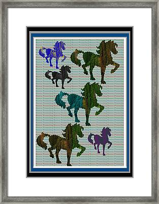 Kids Fun Gallery Horse Prancing Art Made Of Jungle Green Wild Colors Framed Print by Navin Joshi
