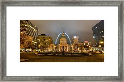 Kiener Plaza And The Gateway Arch Framed Print