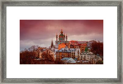 Kiev At Dusk Framed Print