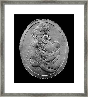 Kikuyu Woman And Child Relief Drawing Framed Print by Suhas Tavkar