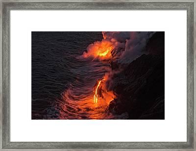 Kilauea Volcano Lava Flow Sea Entry - The Big Island Hawaii Framed Print