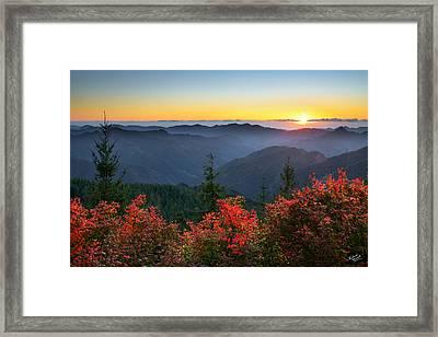 Kilchis River Autumn Framed Print by Leland D Howard