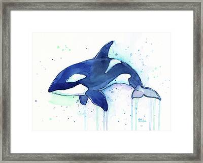 Kiler Whale Watercolor Orca  Framed Print by Olga Shvartsur